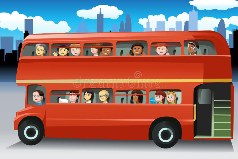 People in a bus royalty free illustration