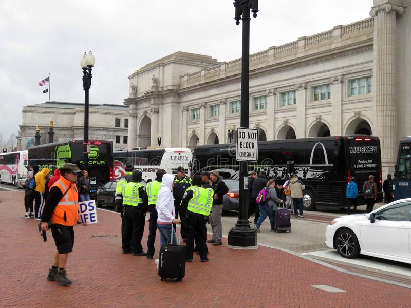 People and Buses at Union Station in Washington DC royalty free stock photo
