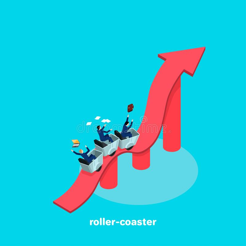 People in business suits ride along a wavy arrow as on a roller coaster. An isometric image stock illustration