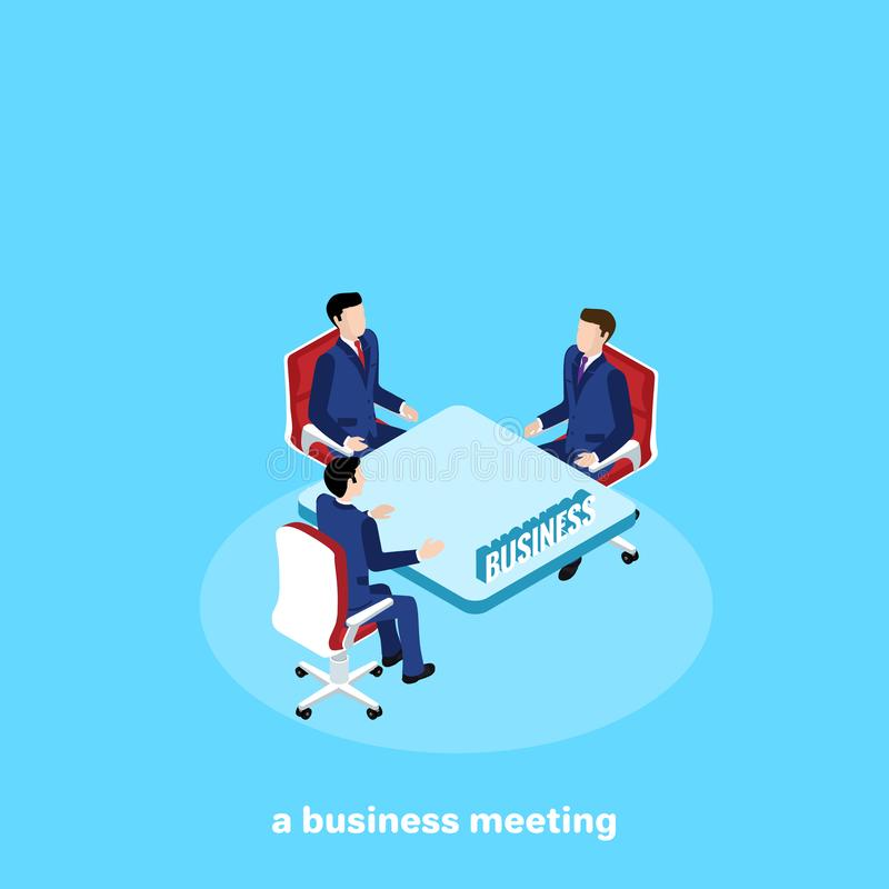 People in business suits are sitting at a table, working meeting and teamwork. Isometric image vector illustration