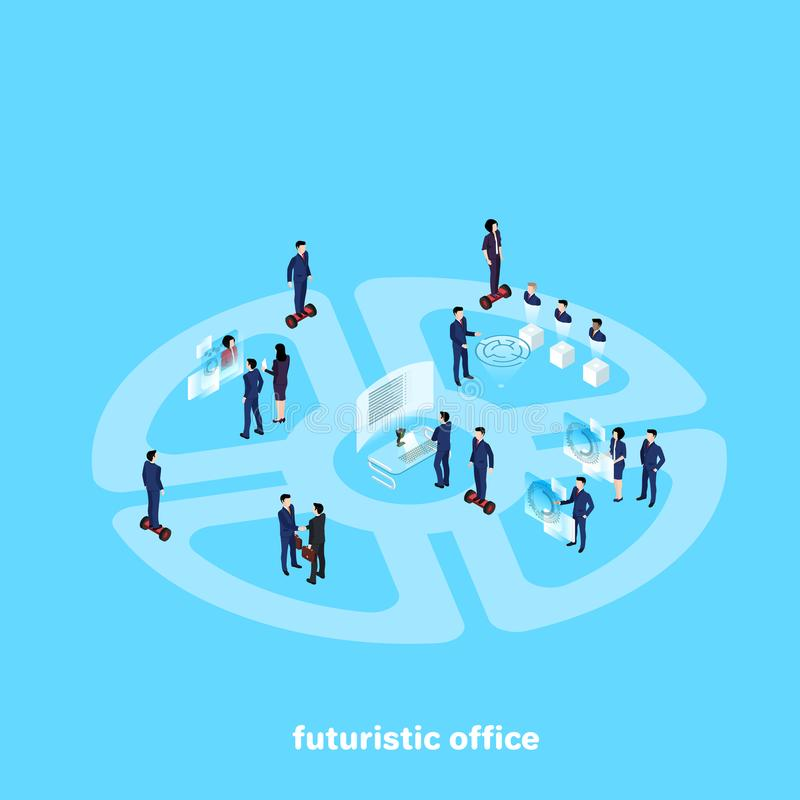 People in business suits work in the futuristic office of the future. An isometric image royalty free illustration