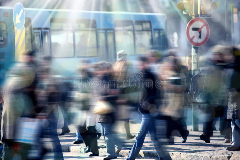 People on busy street stock photos