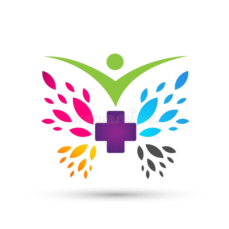 People butterfly health care nature Medical cross icons symbol logo design on white background. In ai10 illustrations royalty free illustration