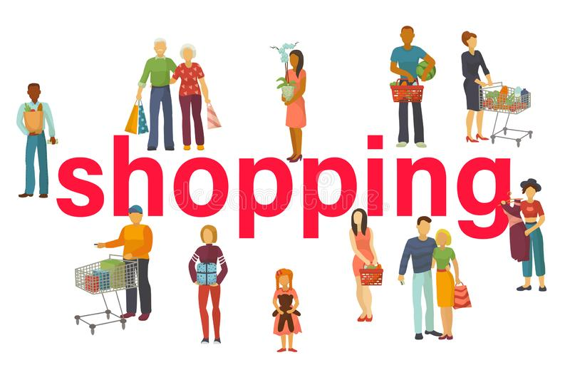 People buy with shopping bags with purchases vector illustration. Old and young couples and kids taking part in seasonal. Sale at store, shop, mall. Cartoon royalty free illustration