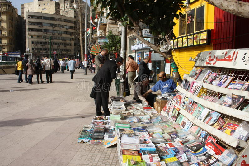 Tahrir Square in Cairo. Newspaper stand in Tahrir Square, Cairo, Egypt royalty free stock photos