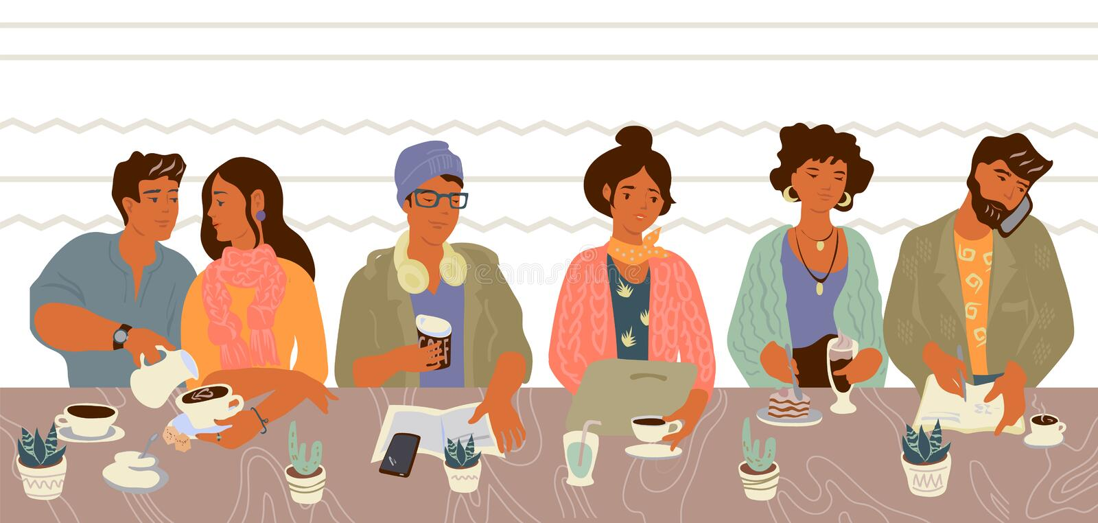 People in cafe on lunch or coffee break - communicating and using gadgets. vector illustration