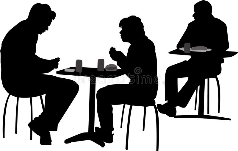 People at the cafeteria. Vector image of people setting at the cafeteria