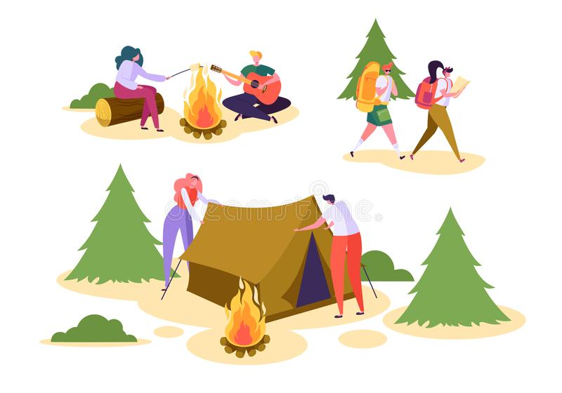 People Camping Forest Nature Set. Man Woman Walk Hiking Backpack in Wildlife Park. Couple Character Roast Marshmallow vector illustration