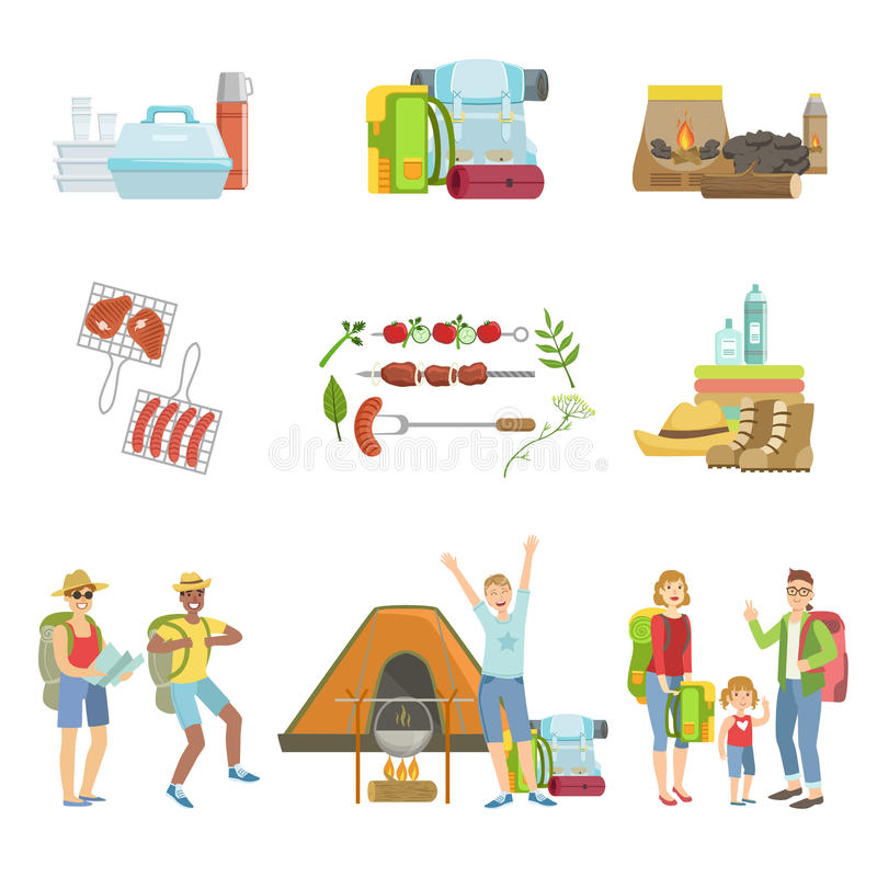 People Camping And Their Equipment Set vector illustration