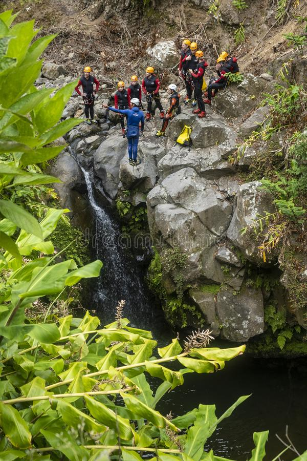 People Canyoning in Sao Miguel Island #2 lizenzfreie stockbilder