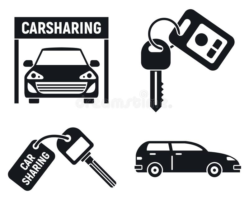 People car sharing icons set, simple style. People car sharing icons set. Simple set of people car sharing vector icons for web design on white background stock illustration