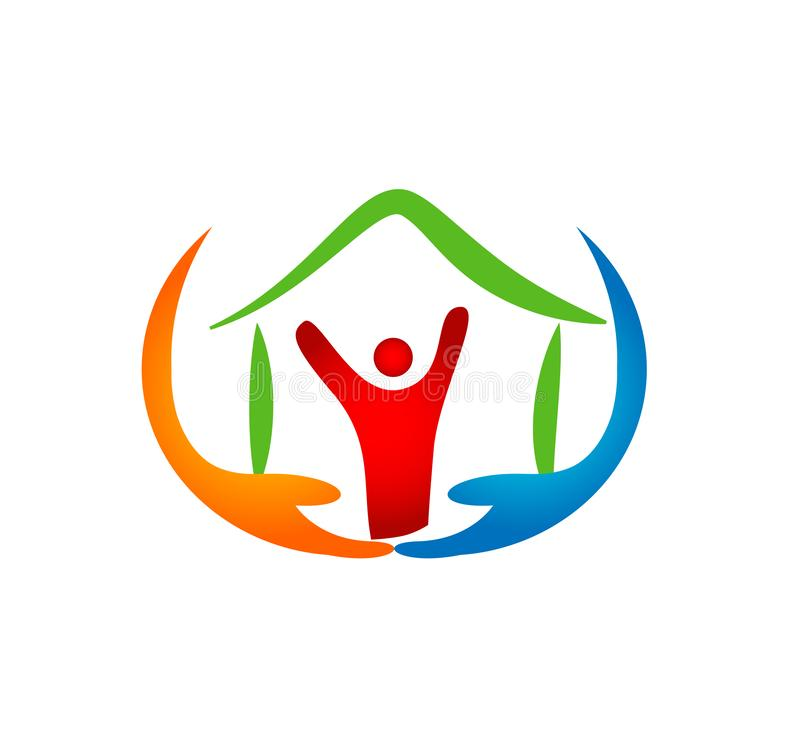 People care home love elders senior children in hand hope trust logo. royalty free illustration