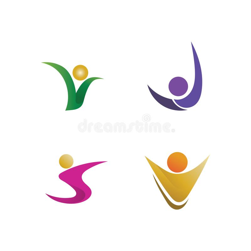 People care success health life logo. Athletic, balance, body, brand, club, creative, diet, dynamic, energy, fitness, gym, healthy, human, logotype, medical stock illustration