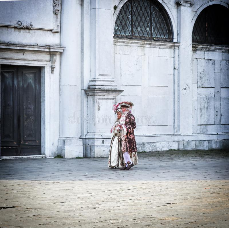 People in carnival costume Venice. People in carnival costume on place of Venice, Italy 2019 royalty free stock photos