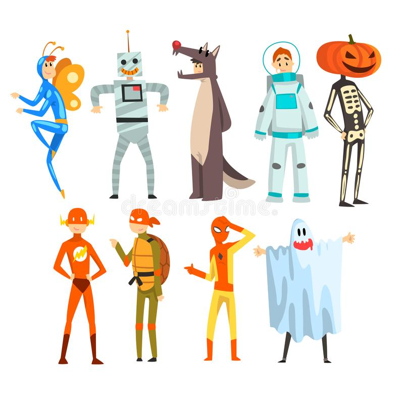 People in carnival costumes set, funny persons dressed as an butterfly, robot, wolf, astronaut, superhero, ninja turtle vector illustration