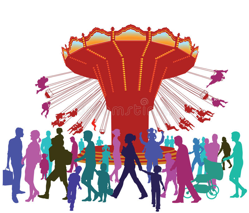 People at carnival royalty free illustration