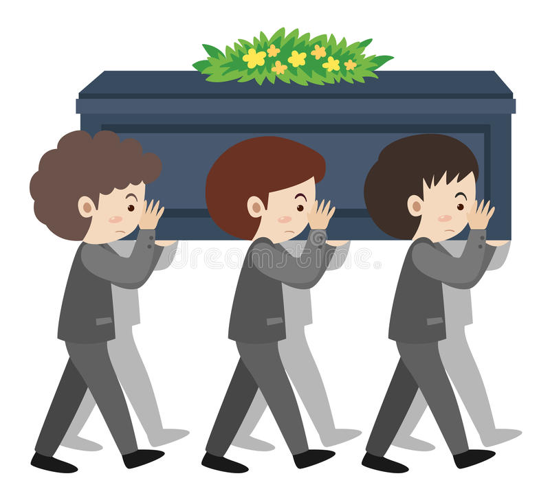 People carry coffin on sholders at funeral. Illustration stock illustration