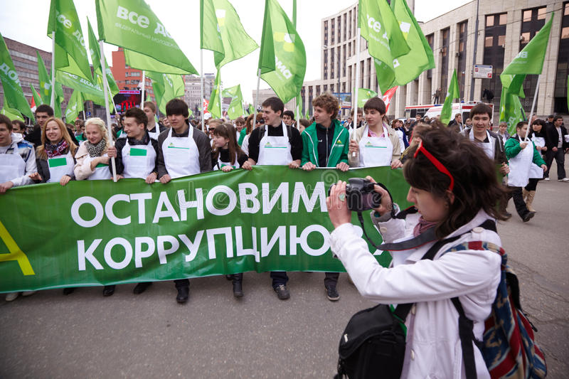 People Carry Flags And Banners In March Editorial Image