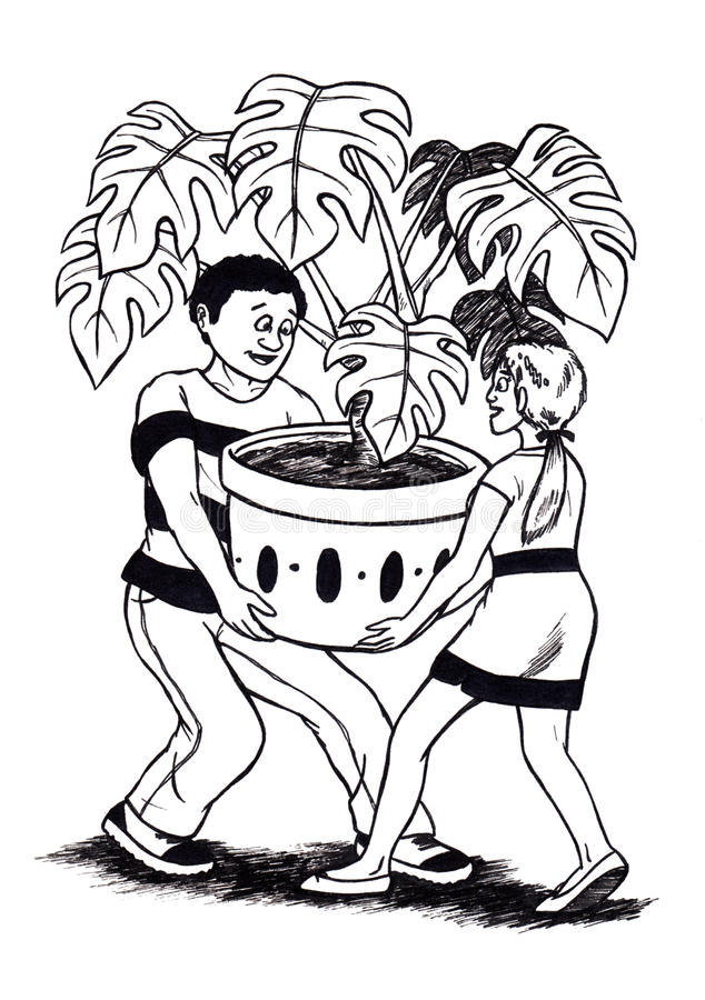 People carrying Plant (2008) stock illustration