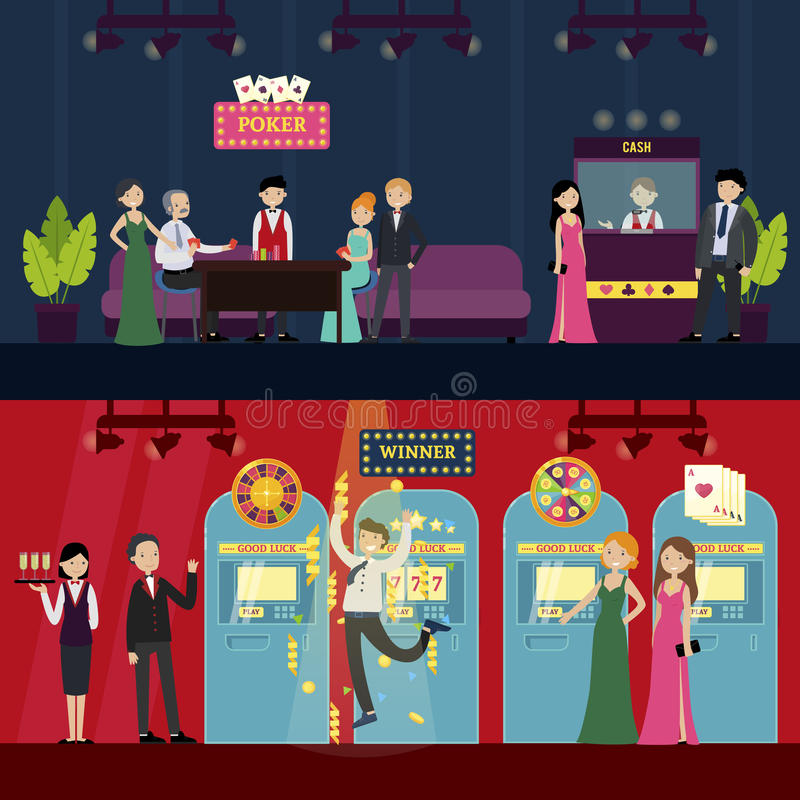 People In Casino Horizontal Banners. With visitors staff poker games and different kinds of slot machines vector illustration stock illustration