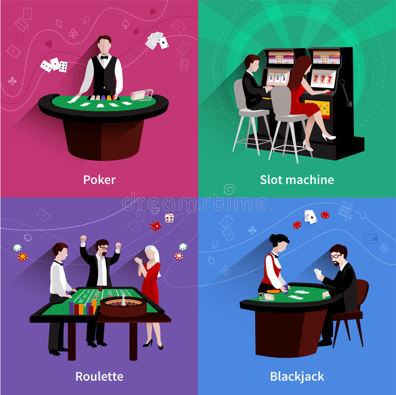 People In Casino Set. People in casino design concept set with flat poker slot machine roulette blackjack icons isolated vector illustration vector illustration