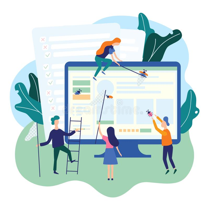 People catching bugs on the web page. IT software application testing, quality assurance, QA team and bug fixing concept. Vector vector illustration