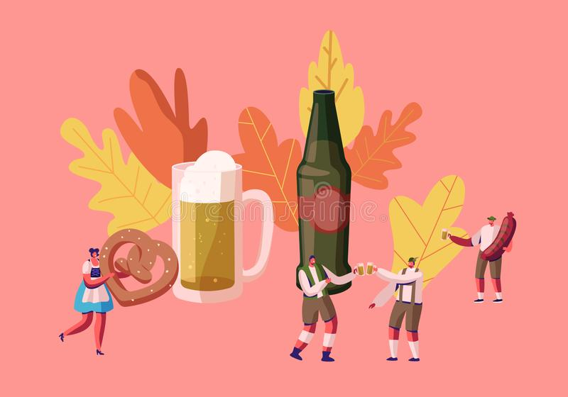 People Celebrate Oktoberfest Festival. Tiny Male and Female Characters in Traditional German Bavarian Costumes Trachten royalty free illustration