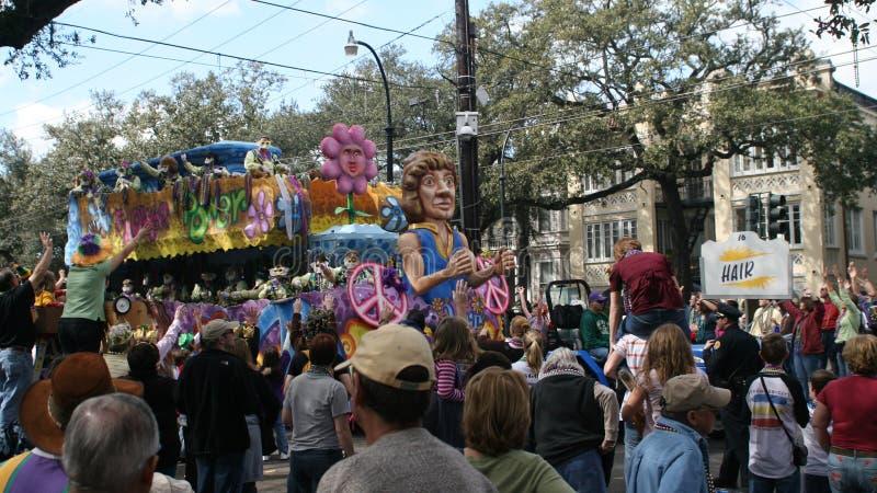 People celebrated crazily in Mardi Gras parade. NEW ORLEANS - FEBRUARY 2: People celebrated crazily in Mardi Gras parade. February 2, 2008 in New Orleans royalty free stock photo