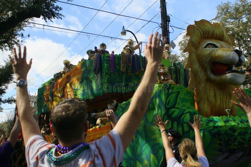 People celebrated crazily in Mardi Gras parade. NEW ORLEANS - FEBRUARY 2: People celebrated crazily in Mardi Gras parade. February 2, 2008 in New Orleans stock photos