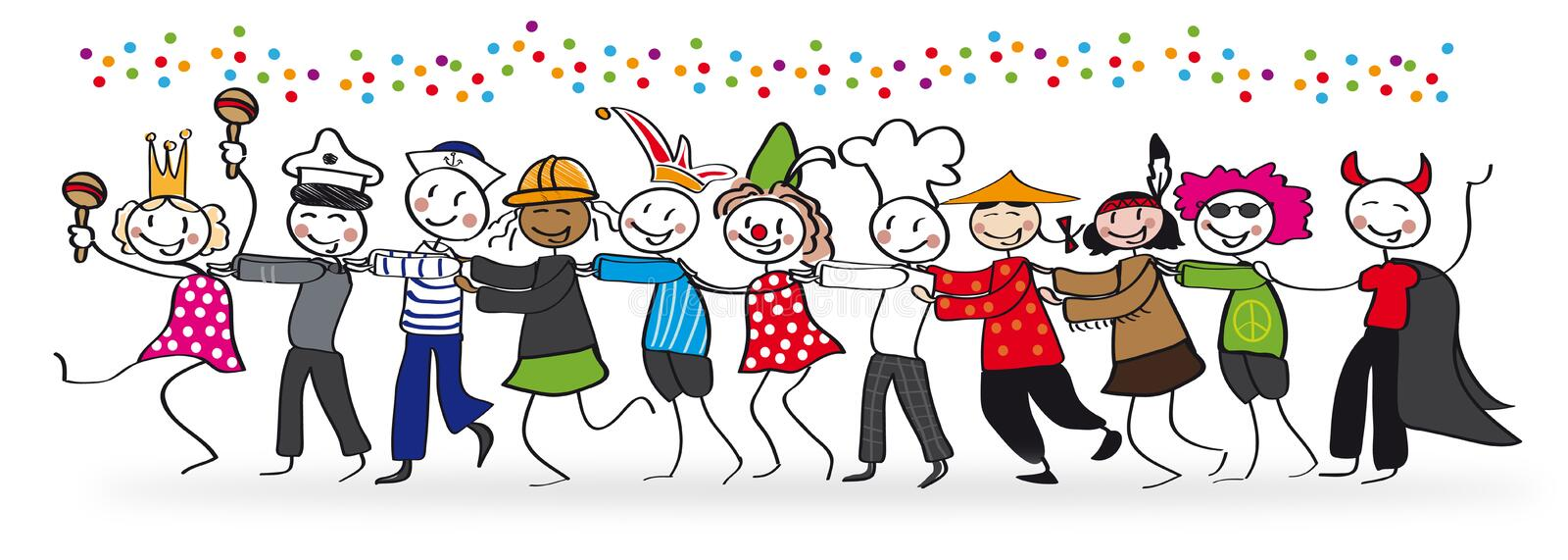 People celebrating Carnival. Group of costumed people celebrating Carnival stock illustration
