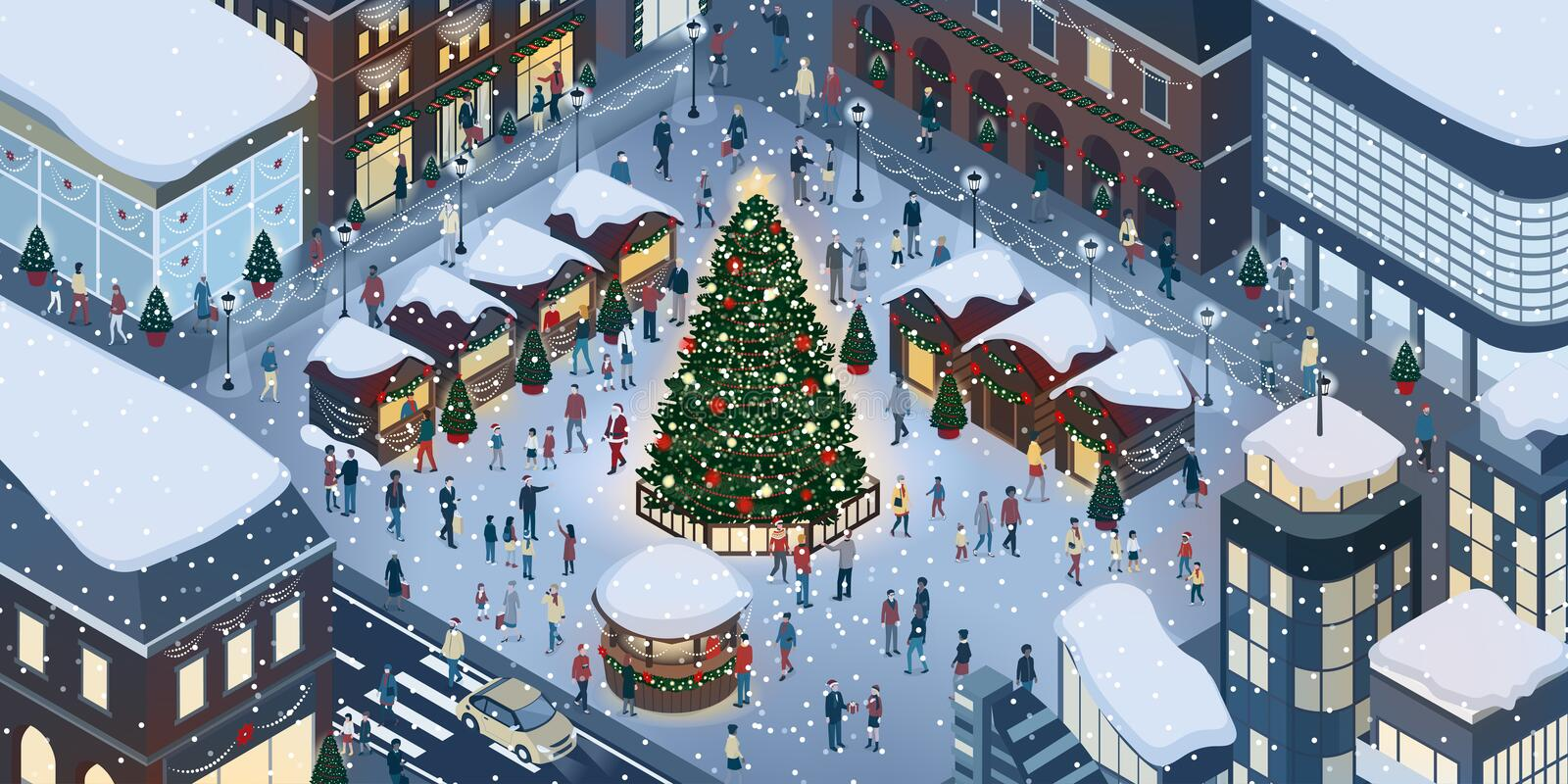 People celebrating Christmas together. Happy people gathering together and celebrating Christmas in the city square around a tree under the snow vector illustration