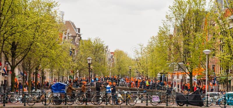 People celebrating at Koninginnedag 2013 Collage royalty free stock photography