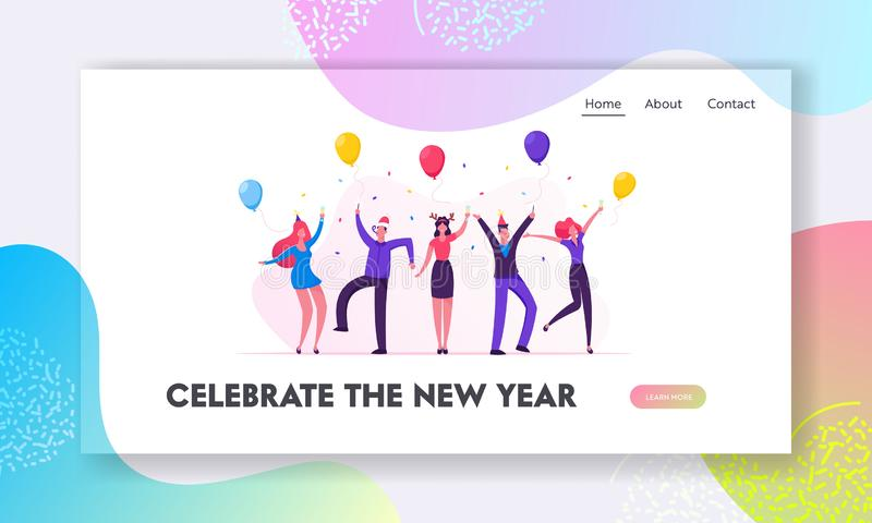 People Celebrating New Year Party Website Landing Page. Happy Business Colleagues Managers Team in Santa Hats. Celebrate Christmas Holiday in Office Web Page vector illustration