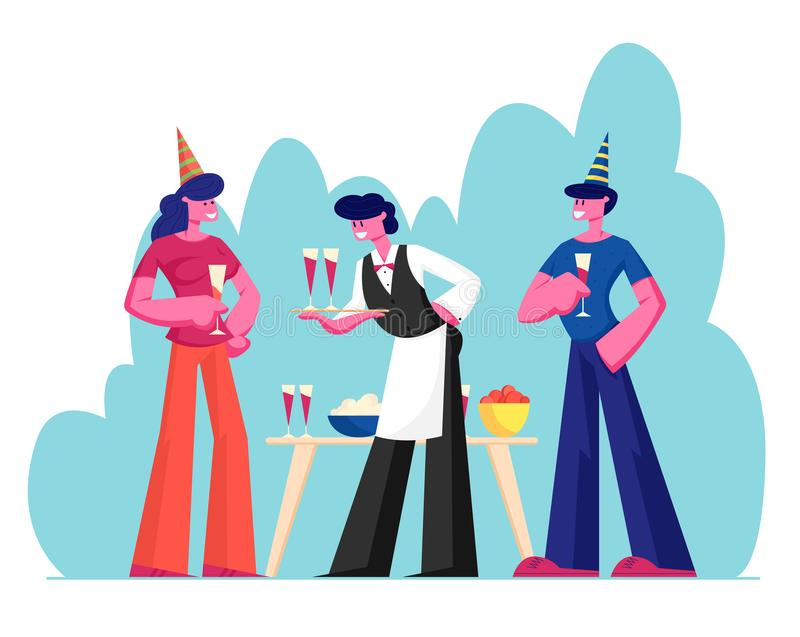 People Celebrating Party. Man and Woman Wearing Festive Hats Holding Glasses with Alcohol Drink Celebrating Holiday. Waiter Serving Guests Carrying Tray with royalty free illustration