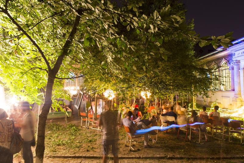 People celebrating Sanziene night in Bucharest stock image
