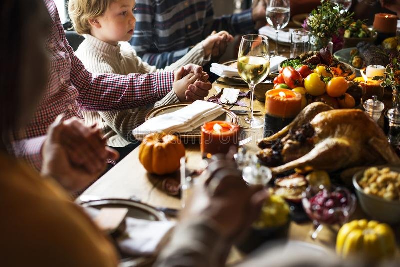 People are celebrating Thanksgiving day royalty free stock photos
