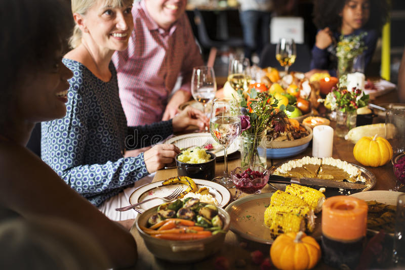 People Celebrating Thanksgiving Holiday Tradition Concept royalty free stock photos