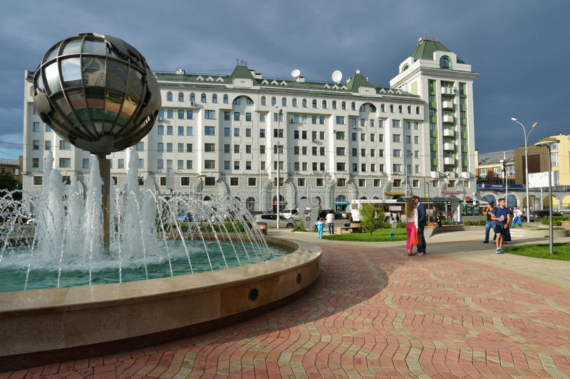 People in the center of Novosibirsk, Russia royalty free stock photo
