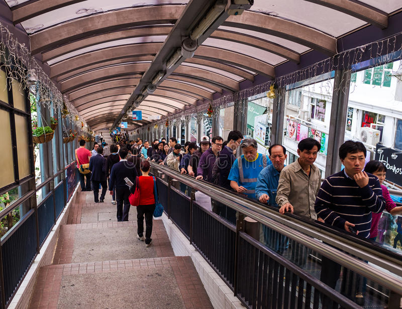 People on Central–Mid-Levels escalator of Hong Kong stock photography