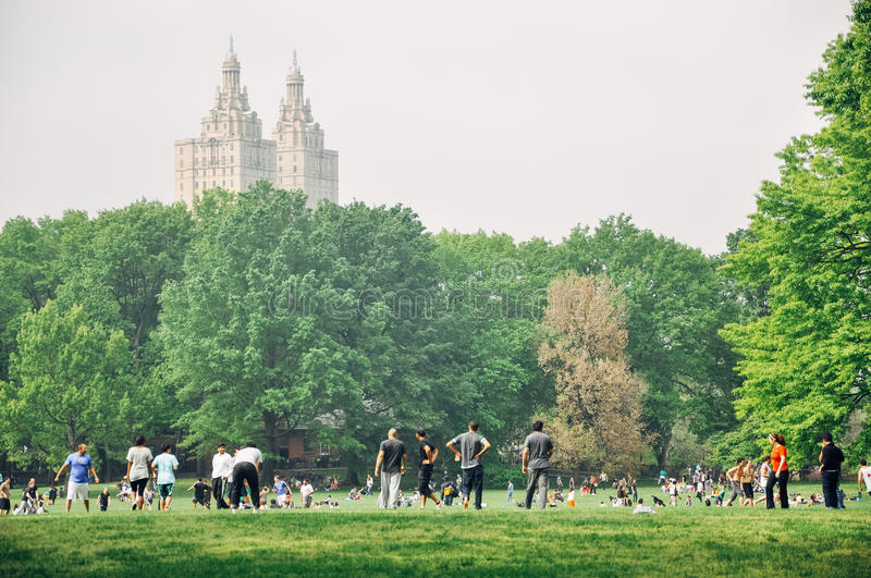 People in Central Park in Manhattan. stock photo