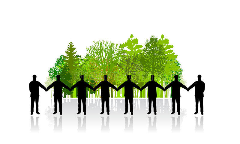 People chain defending nature. Vector illustration of a crowd of people as chain defending a small wood of trees stock illustration