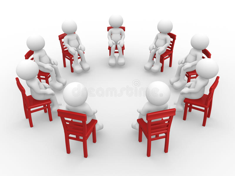 People on chairs. 3d people - human character- stand in a circle on chairs and talking. 3d render vector illustration