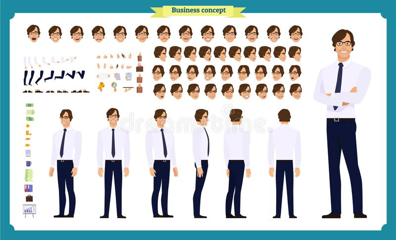 People character business set. Front, side, back view animated character.Businessman character creation set with various views vector illustration