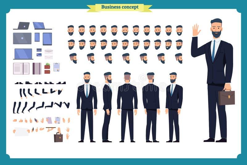 People character business set. Front, side, back view animated character. Businessman character creation set.simple, sketch, face vector illustration