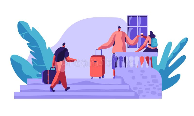 People Character Communicate Outside Hostel Veranda Talking Drink Coffee. International Economy Travel Hotel Concept. People Booking Hotel for Holiday Flat royalty free illustration