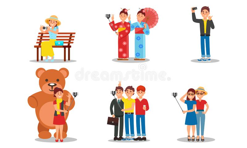 People Character Holding Selfie Stick Taking Photo In Places Vector Illustrations. Woman Sitting On Bench And Woman with Bear Figure Photographing Themselves royalty free illustration