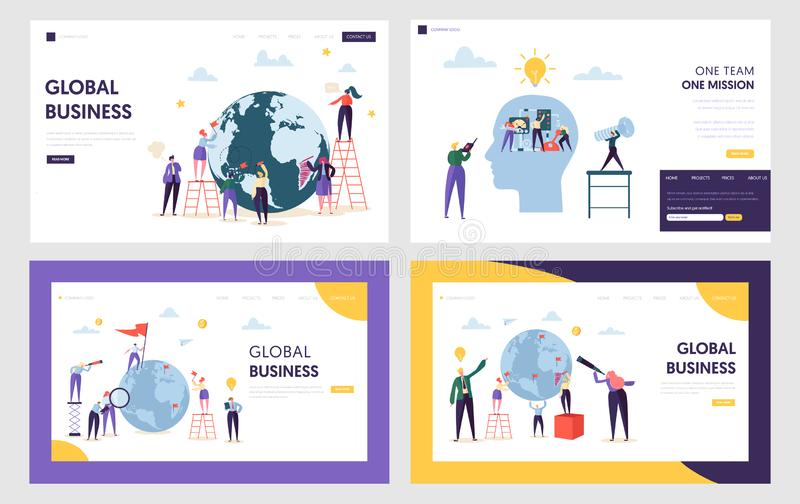 People Character Make Global Business on Front Earth Landing Page. Male and Female Work for New Idea Set Teamwork vector illustration