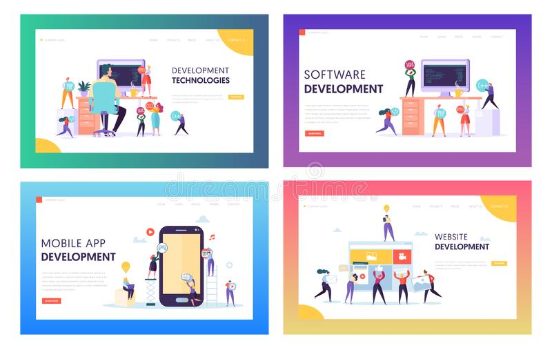 People Character Make Software Development Landing Page. Programming Code on Smartphone and Computer Screen Set vector illustration
