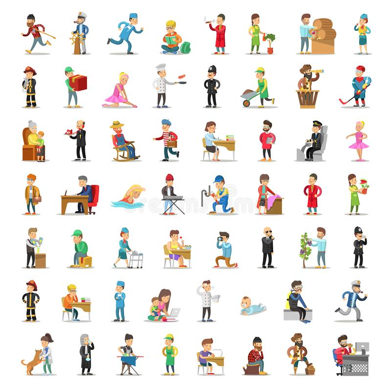 People Characters Collection. Cartoon Set Different Professions in Various Poses. Policeman, Businessman, Doctor Fireman vector illustration