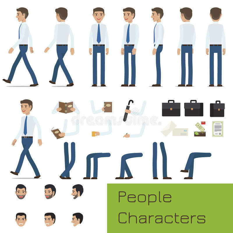 People Characters Create Your Businessman Set stock illustration